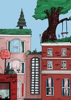 Rooftop Trees by Rosie Devaney, digital art and fine liner illustration Rooftop, Outline, Fantasy Art, Digital Art, My Arts, Trees, Ink, Adventure, Mansions