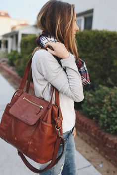 Cardigan sweater + plaid scarf