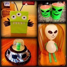 Looking for some easy alien crafts for kids? Find step-by-step directions with lots of pictures for Halloween Activities For Kids, Easy Halloween Crafts, Crafts For Kids To Make, Art For Kids, Easy Crafts, Summer Diy, Summer Crafts, Aliens, Alien Crafts
