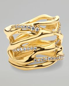 Ippolita Drizzle Gold Diamond Split Ring - Neiman Marcus