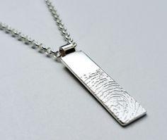Fingerprint Bar Pendant Fingerprint Jewelry, Dog Tags, Dog Tag Necklace, Bar, Pendant, Hang Tags, Pendants
