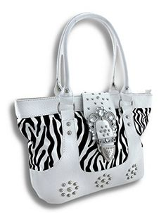 Glossy Zebra Shoulder Handbag with Rhinestone Buckle and Croc Trim * Learn more by visiting the image link.