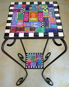The colors are wonderful - I think they're made of polymer clay tiles. Would love to make this a scrabble table. Tile Art, Mosaic Art, Mosaic Glass, Mosaic Tiles, Glass Art, Mosaics, Stained Glass, Tiling, Mosaic Crafts