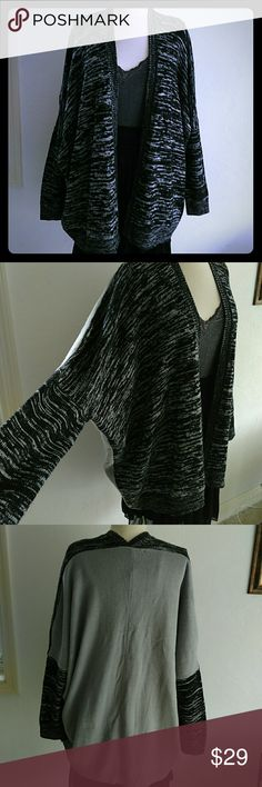 NWT TWO TONE CAPE BAT SLEEVE OSFA New listing Black and gray in front Solid color back Does not close in front Brand new Super soft cape Sherri Souza Boutique & Jewelry Sweaters Cardigans