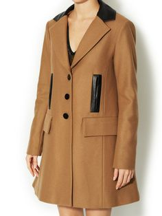 Wool Grand Bazaar Coat with Leather Trim by Nanette Lepore at Gilt