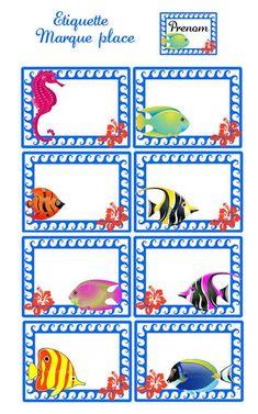 ALOHA.... BIENVENUE .. C'EST L'ETE...PAREO...PAGNE ET COLLIER DE FLEURS...VIENS DANSER LE Ocean Names, Cubby Tags, Name Tag For School, Digital Paper Free, School Labels, Under The Sea Theme, Space Party, Art Drawings For Kids, Kids