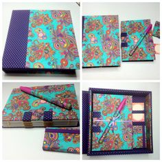 Kit de Caixa em tecido, caderno de bolsa e mini post-it.