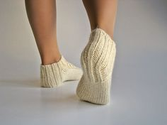 Hand Knitted Braided Cable Ankle Socks 100% Natural by milleta on Etsy www.etsy.com/your/shops/milleta