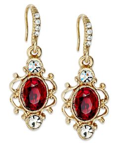 Downton Abbey Earrings, Gold-Tone Scroll and Crystal Accent Drop Earrings
