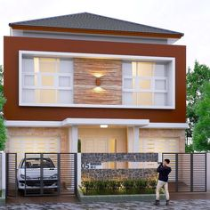 Gambar Tampak Depan Rumah Minimalis 2 Lantai Dengan Teras Batu Alam Dan Warna Cat Cokelat Desain Rumah Eksterior Desain Rumah Kontemporer Home Fashion