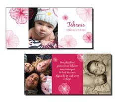Faire-part de naissance / Fille Thème : Fleurs