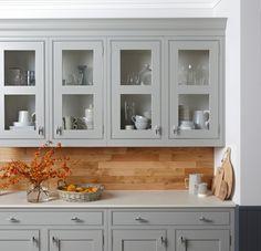 Burbdge's Langton Kitchen painted in Gravel - Glass Doors