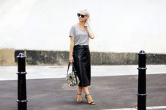 T-shirt & midi leather skirt We The People, Dress Skirt, Leather Skirt, Sequin Skirt, London, Chic, Tees, Casual, Skirts