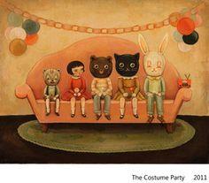 Costume Party Print via Etsy. Emily Winfield Martin - the black apple Kitsch, Images Alphabet, Apple Costume, Black Apple, Amazing Paintings, Cat Paintings, Amazing Art, House Illustration, Poster
