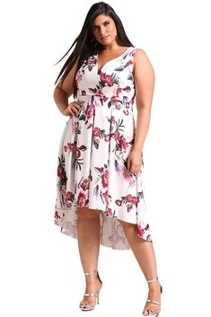 Women's #white no sleeve #PlusSize midi #dress floral pattern design, High low style, V neck, Ruffle hem, casual and leisure.