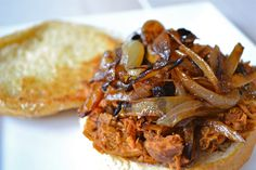 Slow Cooker BBQ Pulled Chicken with Sauteed Vidalia Onions Pork Sandwich, Soup And Sandwich, Sandwiches, Sandwich Recipes, Onion Recipes, Entree Recipes, Chicken Recipes, Dinner Recipes, Slow Cooker Bbq