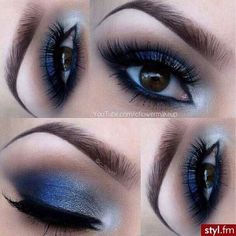 Beautiful Blue & Silver Shadow with Lashes ❤ liked on Polyvore featuring beauty products, makeup, eye makeup, eyeshadow and eyes