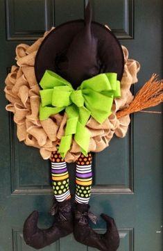 Witch Burlap Halloween Wreath by helene