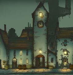I don't save enough stuff from Curious Village...! It wasn't one of my favourite games, I hate to admit (sorry bro if you're reading this), but the story line was pretty cool, in all fairness. Plus it gave me the scares as a kid //Professor Layton, Curious Village, Art, Design, Wallpaper, Nightime, Dark, Scary Stuff