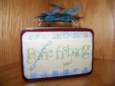 Gone Fishing Pine Trees Altered Tin by SuperCraftyLady on Etsy, $8.50