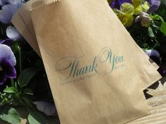 Custom Color Printed/Personalized Kraft Brown Favor Bags for Weddings, Bridal Showers, Baby Showers, and more!