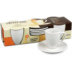 Konitz Coffee Bar 'Espresso Doppio' 3-oz White Cups/ Saucers (Set of... ($20) ❤ liked on Polyvore featuring home, kitchen & dining, drinkware, white, white mugs, white coffee cups, hot coffee mug, hot coffee cups and white espresso cups