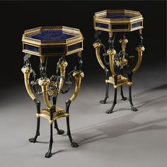 A pair of Louis XVI style ormolu, patinated bronze and lapis