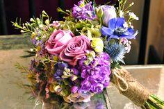 Purple bridal bouquet with twine trim