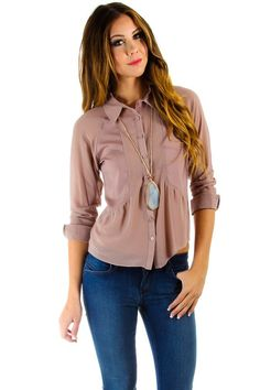 $16 at www.heavenlycouture.com Naked Zebra Sheer Button Down Open Back Blouse in Taupe : Tops