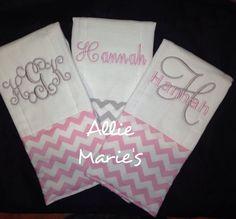 Baby burp cloth Burp cloths Embroidered burp cloths by AllieMaries