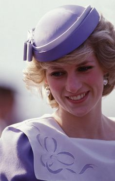 Princess Diana wearing a Jan Van Velden suit and John Boyd hat while visiting Olbia in Sardinia April 1985 at the beginning of the Royal Tour of Italy.