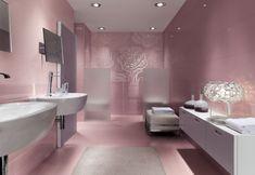 mosaik badezimmer zartrosa silberne rosen wand weiße badmöbel