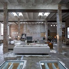 Very industrial decorating... wouldn't take much renovation to get it to this point
