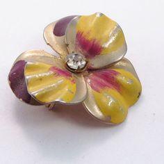 Antique vintage 1940's enamel on metal petunia by jewelry715, $10.00