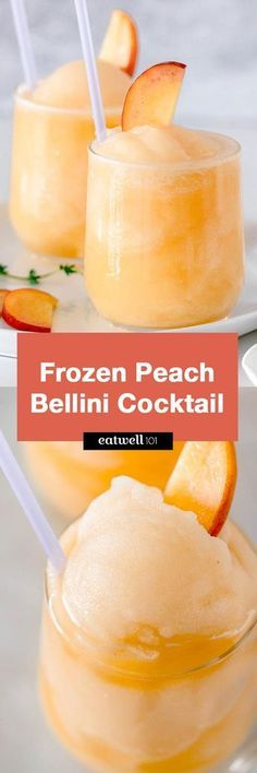 Frozen Peach Bellini Cocktail – Light, refreshing and super easy to make! This e… Frozen Peach Bellini Cocktail – Light, refreshing and super easy to make! This elegant cocktail slush will be a hit for any summer party. Smoothie Drinks, Smoothie Recipes, Smoothies, Cocktail Drinks, Cocktail Recipes, Prosecco Cocktails, Cocktail, Drink Recipes, Non Alcoholic Drinks