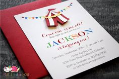 Circus Tent Invitations FLAT Birthday by peasandthankyous Carnival Invitations, Handmade Invitations, Baby Shower Invitations, Party Invitations, Circus Birthday Invitations, Carnival Themed Party, Carnival Birthday Parties, First Birthday Parties, Carnival Tent