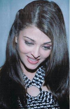 Gorgeous black white top, hair, and makeup of Ms. Aishwarya Rai