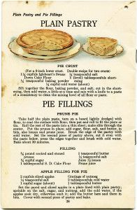 A vintage cookbook page from 1922, featuring an apple pie illustration with recipes.
