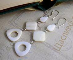 Long White Dangle Earrings Mother of Pearl by JulieEllisDesigns
