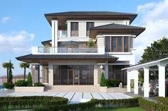 60 mẫu thiết kế nhà ngang 6m dài 10m (6x10m) dành cho năm 2019 Luxury Homes Exterior, Luxury Modern Homes, Luxury Houses, Home Entrance Decor, House Entrance, Classic House Design, Thai House, Beautiful House Plans, Kerala Houses
