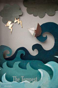 The tempest - pratt book cover design, book design, paper crafts, paper art Book Cover Design, Book Design, Origami, Paper Illustration, Art Plastique, Graphic Design Inspiration, Art Lessons, Book Art, Art Projects