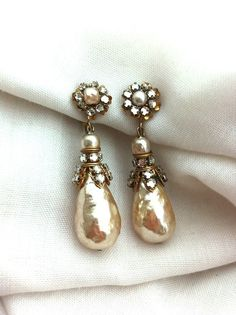 1940'S Signed Miriam Haskell Vintage Pearl and Rhinestone Drop Earrings on Etsy, $223.65 AUD