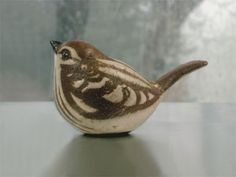 Stoneware Sparrow Sculpture is classic American nature art from our ceramic birds collection