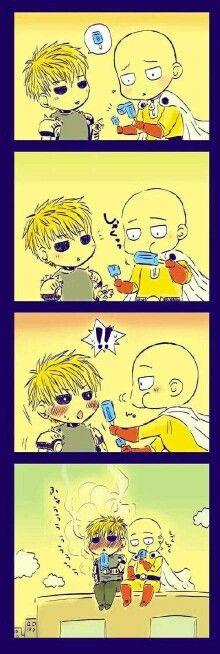 This is damn cute! Chibi Saitama and Chibi Genos from One Punch Man. Saitama knows best!