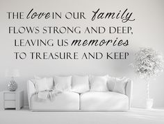 """This beautiful """"The Love In Our Family"""" vinyl wall decal goes on simply, looks hand-painted and stays put on any wall for as long as you need it to be there! Relates a message of love, devotion and ha"""