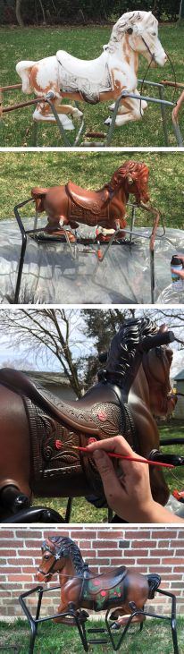A bouncy horse from the re-purposed with spray paint. Recycled Yard Art, Horse Swing, Diy Furniture Restoration, Carosel Horse, Carousel Birthday, Horse Birthday Parties, Rocking Horses, Horse Crafts, Hobby Horse
