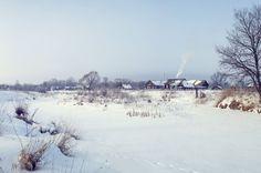 Зимний деревенский пейзаж.Россия.Панорама.