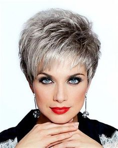 New hair cuts plus size women haircuts short hairstyles Ideas Short Grey Hair, Very Short Hair, Short Hair With Layers, Short Hair Over 50, Curly Short, Short Hair With Bangs, Short Pixie, Short Cuts, Latest Short Hairstyles