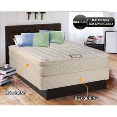 Dreamy Collection fully Assembled Eurotop (Pillowtop) Full Mattress and Box Spring Set-Spinal Back Support, Innerspring Coils, Premium edge guards, Longlasting Comfort - By Dream Solutions USA, Beige Full Mattress Set, Pillow Top Mattress, Queen Mattress, Mattress Box, Jute, Comfort Mattress, Mattress Springs, Pillow Set, Gera