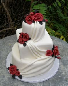 Elegant Fondant wedding cakes made in Sedona AZ. Wedding cakes customed made. Your wedding cake should reflect you. Black And White Wedding Cake, Red And White Weddings, Red Rose Wedding, Square Wedding Cakes, Fondant Wedding Cakes, White Wedding Cakes, Wedding Cakes With Flowers, Cool Wedding Cakes, Wedding Cake Toppers